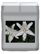 Pair Of Flowering White Stargazer Lilies In Bloom Duvet Cover