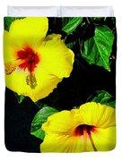 Pair Of Golden Hibiscus In Morning Sun Duvet Cover