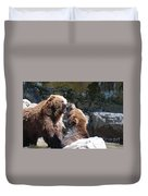 Pair Of Grizzly Bears Biting At Each Other Duvet Cover