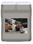 Pair Of Grizzly Bears Wading In A Shallow River Duvet Cover