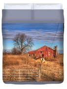 Pair Of Horses Grazing In A Field Duvet Cover