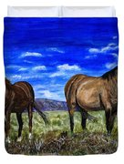 Pair Of Horses Painting Duvet Cover