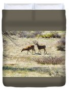Pair Of Mule Deer Grazing At Chatfield Duvet Cover