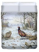 Pair Of Pheasants With A Wren Duvet Cover by Carl Donner