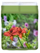 Pair Of Red Asiatic Lilies After A Rain Duvet Cover