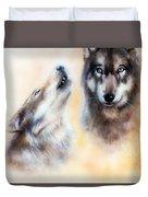 Pair Of Wolves Duvet Cover