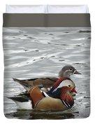 Paired Wood-ducks Duvet Cover