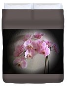 Pale Pink Orchids B W And Pink Duvet Cover