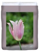 Pale Pink Tulip With Dew Drops Flowering Duvet Cover