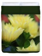 Pale Soft And Yellow Flower Abstract At Sunset Duvet Cover