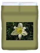 Pale Yellow Flowering Lily Blossom In A Garden Duvet Cover