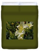 Pale Yellow Lily In A Garden Of Daylilies Duvet Cover