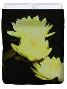 Pale Yellow Water Lilies Duvet Cover