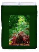 Palm And Azaleas Duvet Cover