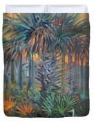 Palm And Egret Duvet Cover