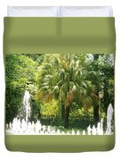 Palm And Fountain Duvet Cover