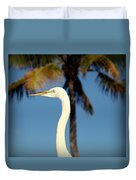 Palm Egret Duvet Cover