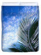 Palm Fronds And Clouds Duvet Cover