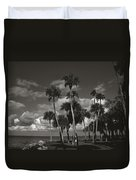 Palm Group In Florida Bw Duvet Cover