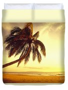 Palm Over The Beach Duvet Cover