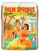 Palm Springs Poster - Retro Travel Duvet Cover