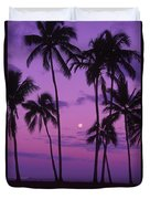 Palm Tree And Moon Duvet Cover