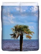 Palm Tree By The Lake Duvet Cover