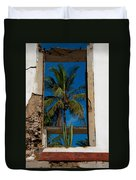 Palm Tree In The Window Duvet Cover