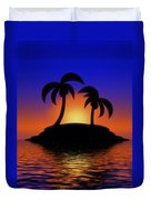 Palm Tree Island Duvet Cover