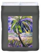 Palm Tree On Windy Beach Duvet Cover
