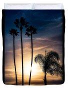 Palm Tree Sunset Silhouette Duvet Cover