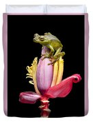 Palm Treefrog On A Banana Flower Duvet Cover