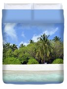 Palm Trees And Exotic Vegetation On The Beach Of An Island In Maldives Duvet Cover