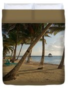Palm Trees And Hammock On San Pedro Duvet Cover