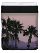 Palm Trees And Mountains At Sunset #1 Duvet Cover