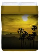 Palm Trees At Sunset With Mountains In California Duvet Cover