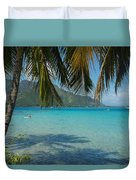 Palm Trees Cast A Shadow In Blue Water Duvet Cover