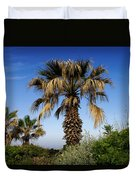 Palm Trees Growing Along The Beach Duvet Cover