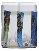 Palm Trees In Snowstorm Duvet Cover
