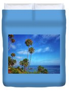 Palm Trees On The Pacific Duvet Cover