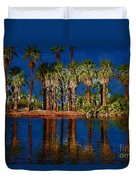 Palm Trees On The Water Duvet Cover