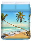 Palm Trees Over The Sea Duvet Cover