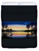 Palmetto Tree And Moon Low Country Sunset Duvet Cover