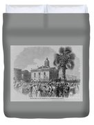 Palmetto Tree And Old Custom House Duvet Cover