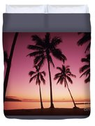 Palms Against Pink Sunset Duvet Cover