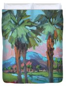 Palms And Coral Mountain Duvet Cover