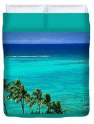 Palms And Ocean Duvet Cover