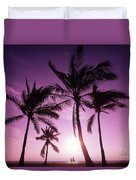 Palms And Pink Sunset Duvet Cover