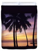 Palms And Sunset Sky Duvet Cover