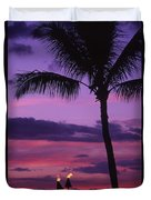 Palms And Tiki Torches Duvet Cover